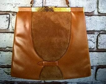 Vintage handbag Caramel coloured leather and suede, retro handbags, vintage purses,  purses and handbags, fashion accessories