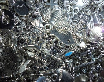 100 Mixed silver tone charms supplies  - mixed crafting sets for jewellery making assorted