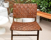 Milan Brown Leather Woven Lounge Chair, Teak Wood Accent Chairs, Mid Century Modern Lounger, Danish Furniture, Rustic Patio Chair, ALF213