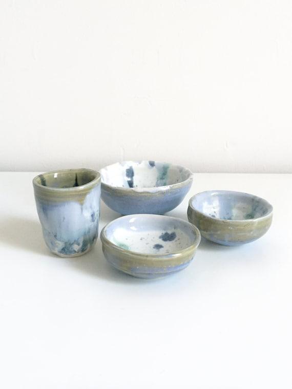 Multi Castille Blue Mixed Sake Cup Set of 4