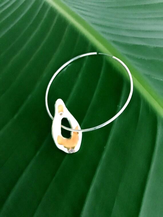 Teardrop on the Hoop Ceramic Gold Luster Earring - Single