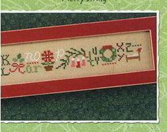Lizzie Kate RETIRED! Merry String Counted Cross Stitch Chart Pattern Christmas Snippet S110 13-2271