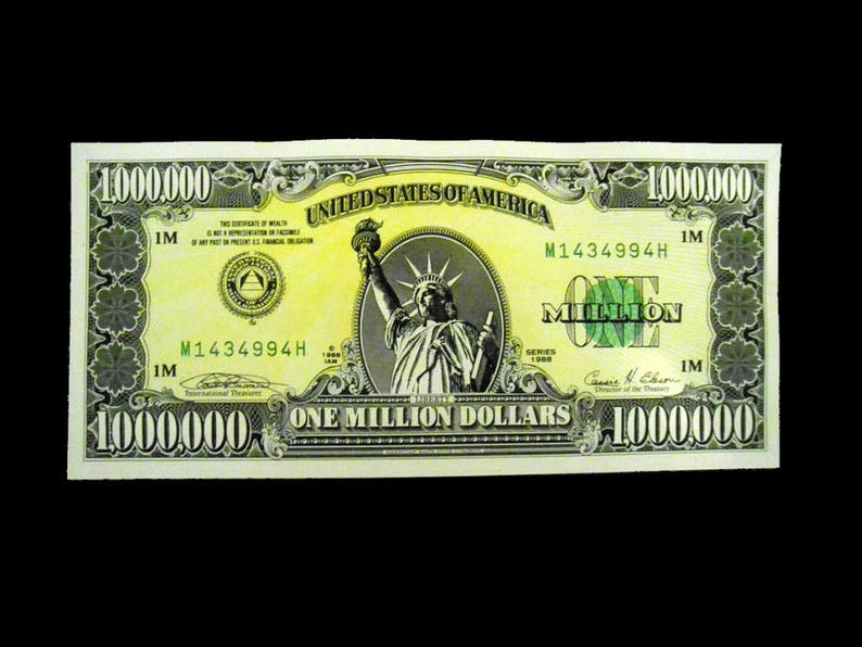 Million Dollar Bill  Vintage 1988  Mint Condition  Limited image 0