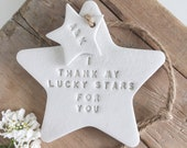 I thank my lucky stars: White clay star & personalised tag ~ Mother's Day gift ~ new baby gift ~ wedding gift ~ wedding favor