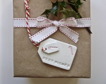 4 clay gift tags ~ perfect for decorating Christmas gifts ~ room to write your own message