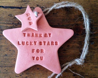 Terracotta clay star decoration ~ clay decoration ~ new baby gift ~ wedding gift ~ wedding favor ~ Mother's Day gift