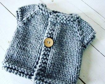 6c57b3b66680 Knit Baby Sweater   Vest 0-3 Months Hand Knit Newborn to 3 Mths