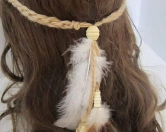 Boho crochet headband with Feathers and Beads