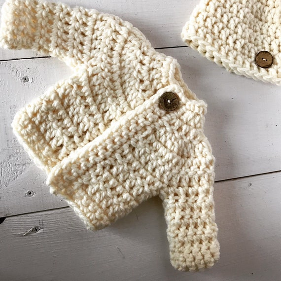 Hand Knitted Green or Yellow Baby Sweater and Hat Set with Matching Fish Buttons