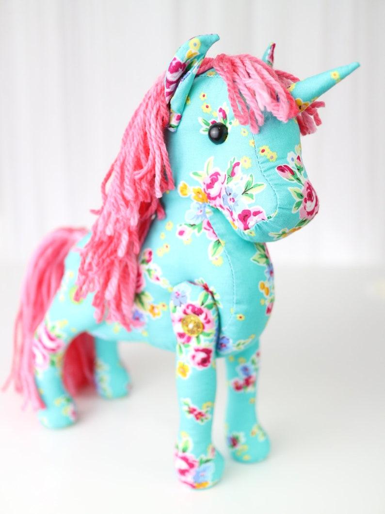 Floral nursery decor Unicorn toy rag doll Horse memorial Green Plush Unicorn.Miss Emmy Cloth doll unicorn plushie Baby shower gift