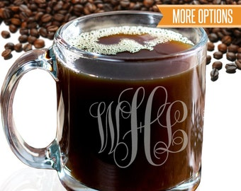 Engraved glass coffee mug, Personalized monogram coffee mug, Custom coffee mug / Laser engraved