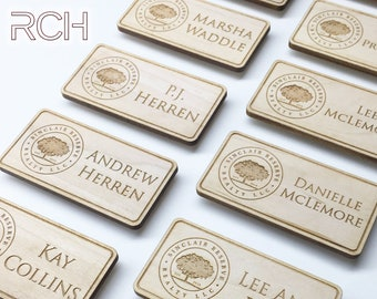 Wood name tag, Company name tag, Personalized name tag, Engraved name tag, Corporate name tag, Magnetic tag, Personalized company name tag