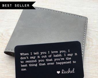 Personalized wallet card, Custom wallet card, Laser engraved wallet card insert, personalized message card, wallet insert, metal wallet card