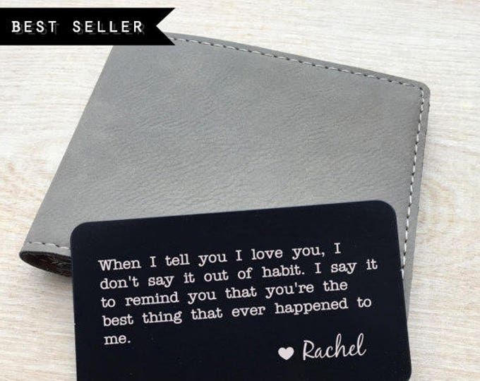 Featured listing image: Personalized wallet card, Custom wallet card, Laser engraved wallet card insert, personalized message card, wallet insert, metal wallet card