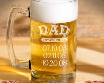 Dad established beer mug engraved, Personalized dad beer mug, Dad mug/25oz. Laser engraved, Personalized beer glasses, Dad gift
