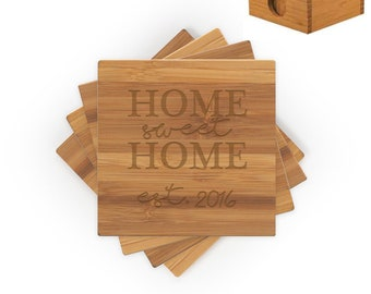 New home gift engraved, Closing gift, Engraved wood coasters, Bamboo coaster set engraved, Laser engraved