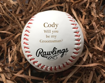 Groomsman announcement, Personalized Baseball/Laser Engraved, engraved baseball, groomsman gift, custom baseball