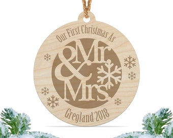 Our first Christmas as mr and mrs ornament, Personalized engraved wood Christmas ornament, First christmas ornament / Laser engraved