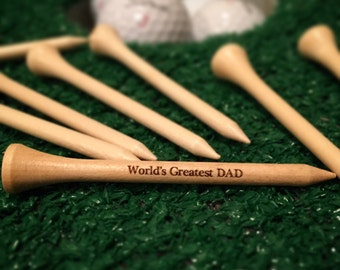"World's Greatest DAD Laser Engraved Golf Tees/2.75"" Natural Wood or White, Father's Day golf gift, personalized golf tees, engraved golf tee"