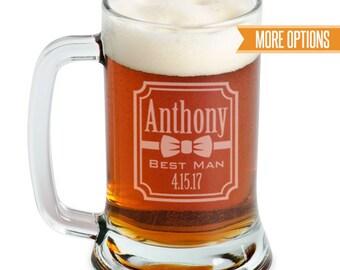 Groomsman beer mugs engraved, Personalized wedding beer glasses, Best Man gift, Groomsmen gifts / 16oz. Laser engraved