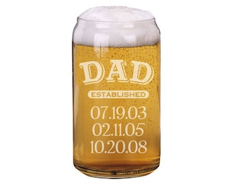 Personalized Beer Can Glass Dad established beer glass/Engraved Beer Can Glass 16 oz. dad beer glass, dad gift, personalized dad gift