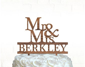Mr & Mrs cake topper, Wood wedding cake topper / Laser cut, Personalized cake topper, Rustic cake topper
