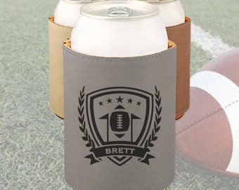 Engraved Football can cooler, Personalized Football team gift / Laser engraved