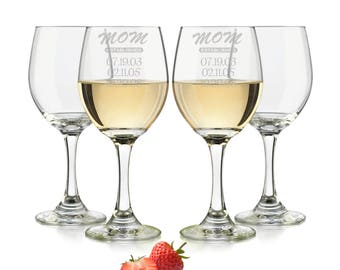 Mom established wine glass, Mom glass, custom wine glass, Personalized wine glasses, custom wine glasses Est. Date Engraved/Wine Glass 20oz.