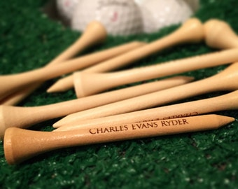 """Personalized golf tees, Engraved golf tees, Engraved golf gift, Custom golf tees, Laser Engraved Golf Tees/2.75"""" Natural Wood or White"""