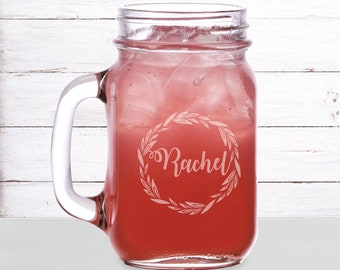 Bridesmaid mason jar mugs, Wedding mugs, Bridesmaid gift engraved, Personalized Mason Jar Mugs Engraved/16oz. Monogram, Laser engraved