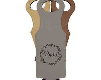 Mother's day gift, Bridesmaids wine tote bag, Wine carrier bag engraved, Personalized wine gift /Laser engraved