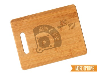 Baseball engraved cutting board, Bamboo personalized board, Sports wedding cutting board, Engraved bamboo board