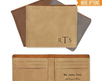 Personalized Wallet, Engraved leather wallet, Gift for him, Men's wallet /Laser engraved  Leather wallet, Engraved wallet
