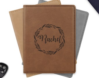 Personalized passport holder, engraved leather passport holder, leather passport cover / Laser engraved