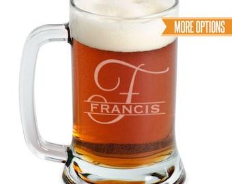 Beer mug engraved, Personalized beer mug, Groomsman mug/16oz. Monogram glass, Laser engraved, Personalized beer glasses, Wedding beer mugs
