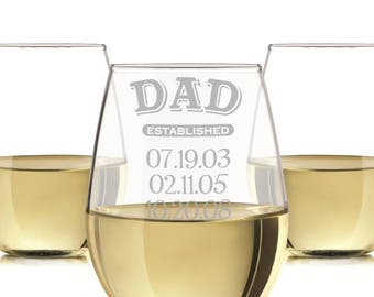 Dad established wine glass, engraved dad glass, Engraved Wine Glass 20oz./personalized wine glass, engraved wine glasses, Dad wine gift