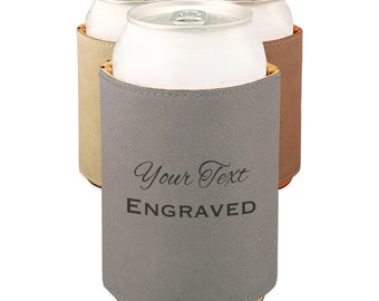Engraved can cooler, Leather can cooler, beverage holder personalized, Custom can cooler Laser engraved