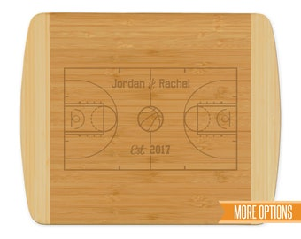 Basketball engraved cutting board, Bamboo personalized board, Sports wedding cutting board, Engraved bamboo board