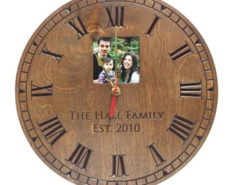 "Personalized Clock, Picture frame clock engraved 14.5"" Diameter/With incorporated photo frame 3.5""x3.5""/Personalized Engraved/Carved Clock"