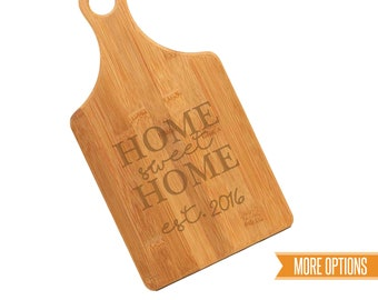 Closing gift engraved cutting board, Bamboo personalized board, New home cutting board, Wedding cutting board, Engraved bamboo board