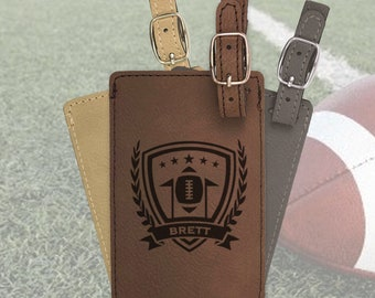Personalized Football bag tag, engraved luggage tag, leather luggage tag/Laser engraved suit case tag, sports gift, football team gift