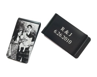 Personalized photo money clip, Black money clip engraved, Laser engraved money clip