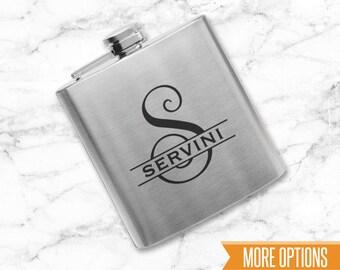Personalized flask, Engraved Flask, Groomsmen flasks, Personalized Monogram Engraved 6oz. Stainless Steel Flask/Laser Marked