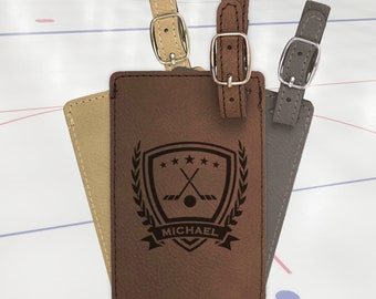 Personalized Hockey bag tag, engraved luggage tag, leather luggage tag/Laser engraved suit case tag, sports gift, hockey team gift