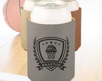 Engraved Basketball can cooler, Personalized Basketball team gift / Laser engraved