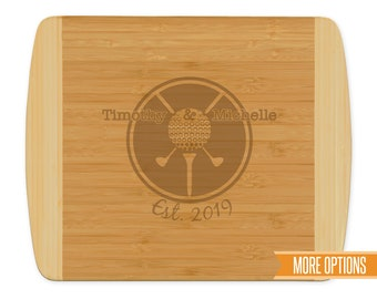 Golf engraved cutting board, Bamboo personalized board, Sports wedding cutting board, Engraved bamboo board