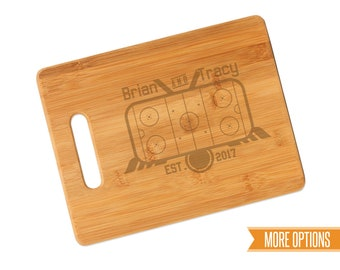 Hockey engraved cutting board, Bamboo personalized board, Sports wedding cutting board, Engraved bamboo board