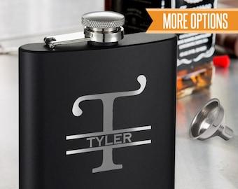 Engraved black flask, Personalized monogram Flask, Groomsmen flasks, Personalized Monogram Engraved 6oz. Flask/Laser engraved