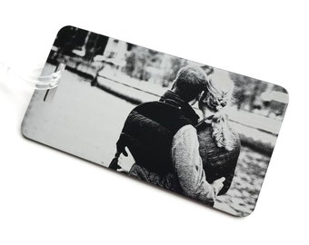 Personalized photo luggage tag, Custom luggage tag engraved, Laser engraved metal luggage tag, travel gift