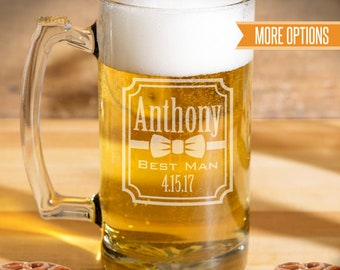 Groomsman beer mugs engraved, Personalized wedding beer glasses, Best Man gift, Groomsmen gifts / 25oz. Laser engraved